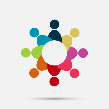 Vector graphic group connection icon. Eight people in the circle. Icon team work