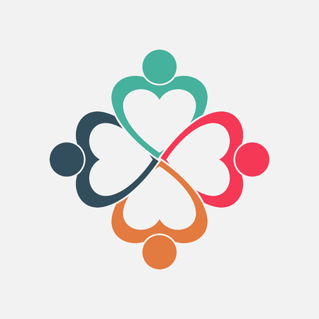 Four people heart in a circle holding hands.The summit workers are meeting in the same power room.