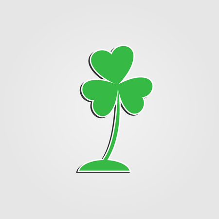 Three leaf heart clover icon,Bright green shamrock,isolated on white.vector illustrations  イラスト・ベクター素材