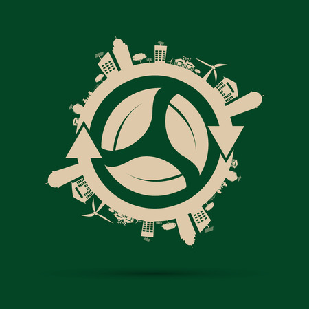 Ecology concept. save world.GGreen Cities Helps the World With Eco-Friendly Concepts.vector illustration Illustration
