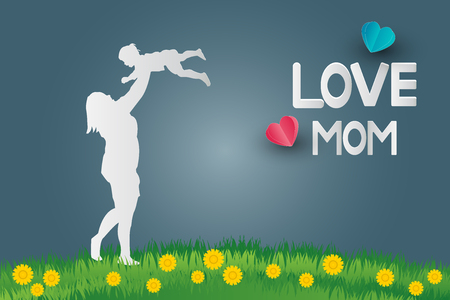 Postcard to mothers day,Beautiful woman showing love to daughterpaper art style Ilustração