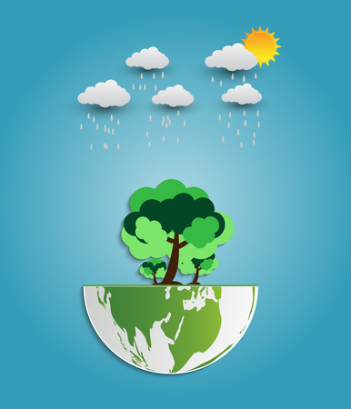 Ecology concept idea. Globe and tree have a rain cloud background.