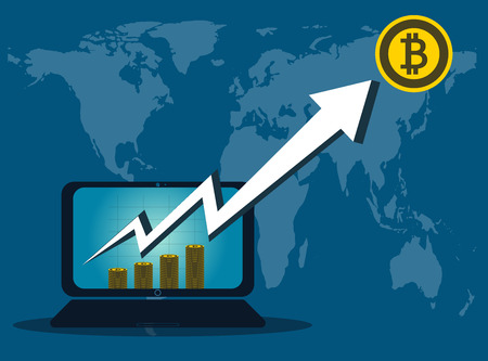 Bitcoin Business, arrow up from the computer screen on background map world. Vector Illustrator