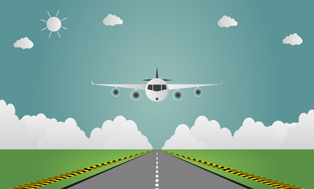 Airplane lands on airport on runway a plane landing or taking off. Vector illustration