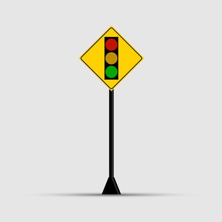 Poles Traffic light, green, yellow, red on white background Illustration