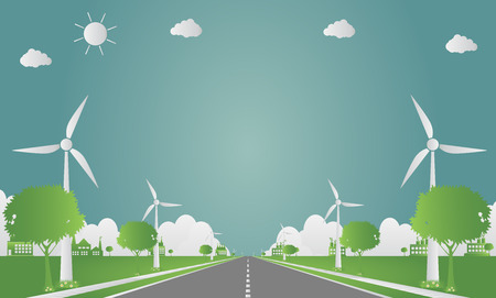 Factory ecology,Industry icon, wind turbines with trees and sun Clean energy with road eco-friendly concept ideas. Vector illustration