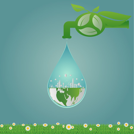 Ecology,water clean energy recycling,Green cities help the world with eco-friendly concept ideas.vector illustration  Illustration