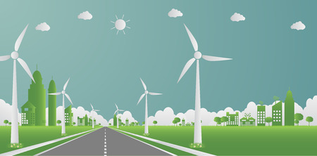 Factory ecology,Industry icon,Wind turbines with trees and sun Clean energy with road eco-friendly concept ideas.vector illustration