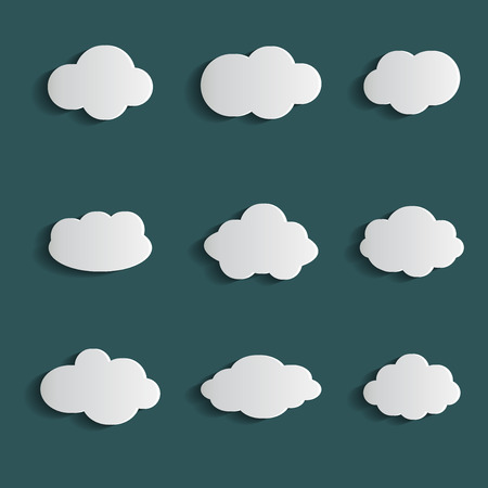Cloud vector icon set white color on blue background. Sky flat illustration collection for web. Vector illustration Ilustrace