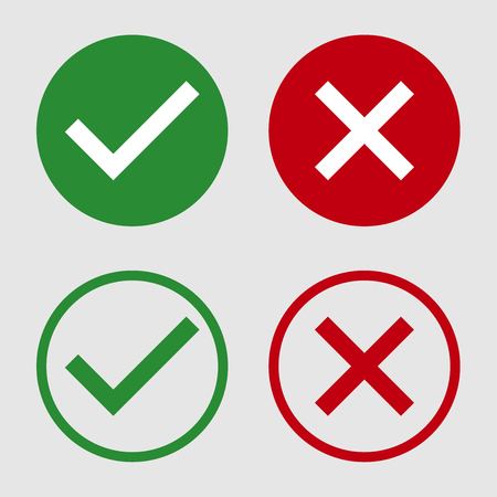 Symbol yes or no icon in green and red on white background. Vector illustration