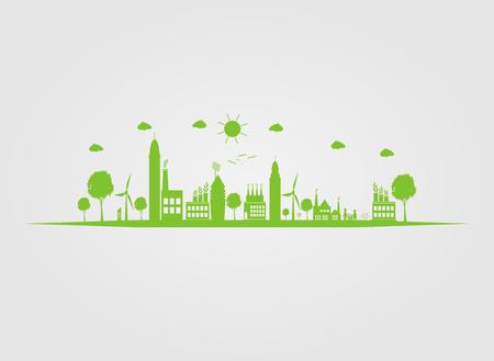 Cologie.Les villes vertes aident le monde avec des idées de concept écologique.Illustration vectorielle Banque d'images - 97621593