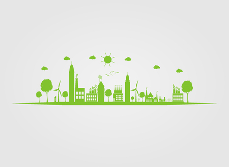 Ecology.Green cities help the world with eco-friendly concept ideas.vector illustration Ilustracja