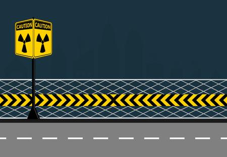 Poles warning yellow of the danger of radiation on city streets background,radiation icon symbol,Vector illustration Illustration