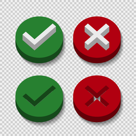 symbol yes or no icon,3D,green,red on transparent background.Vector illustration