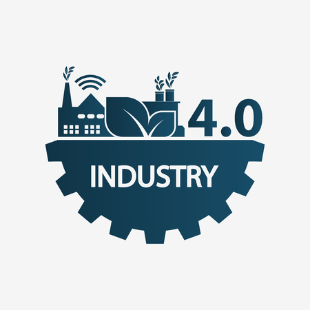 Industry 4.0 icon,logo factory,technology concept.vector illustration