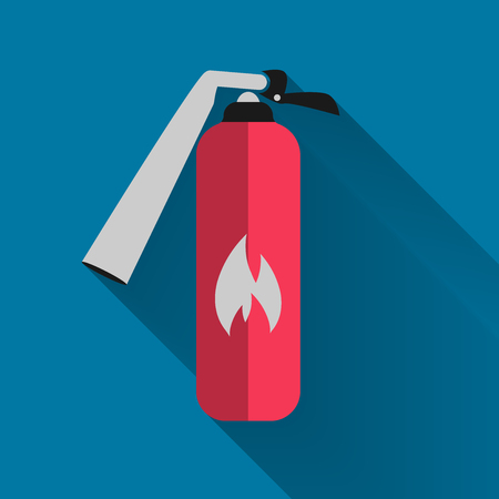 Security icon, fire extinguisher icon with long shadow black. Simple design style vector illustration. Illustration
