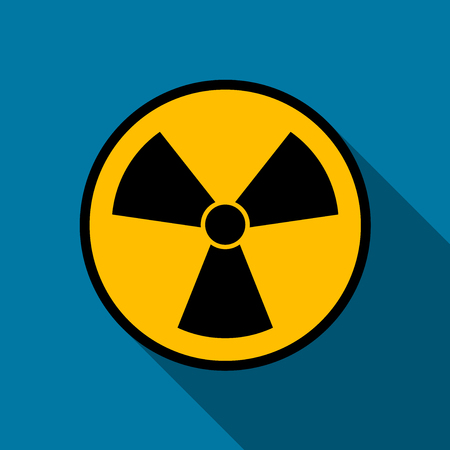 radiation icon symbol with long shadow black,Simple design style.vector illustration