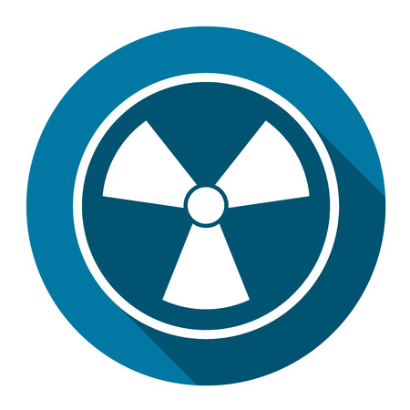 Radiation icon symbol with long shadow black, simple design style. Vector illustration