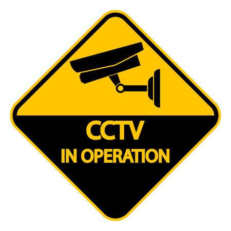 CCTV Camera label.Black Video surveillance sign on white background.vector illustration Ilustração