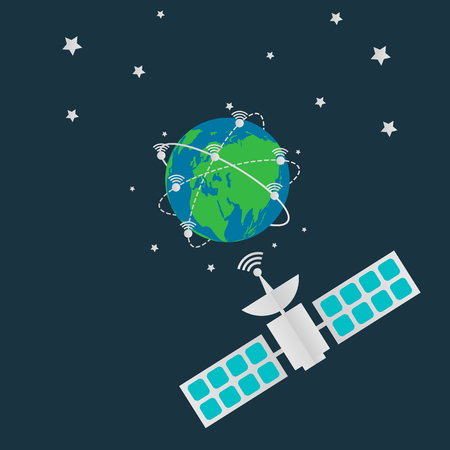 Communication satellites in orbit earth,Digital terrestrial broadcasting antenna spin around the world.vector illustration