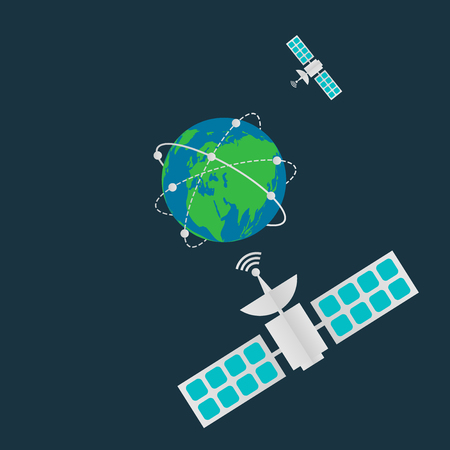 Communication satellites in orbit earth,Digital terrestrial broadcasting antenna spin around the world.vector illustration