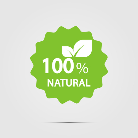 100 percent natural label. Vector illustration.