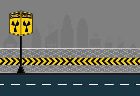 Poles warning yellow of the danger of radiation on city streets background,radiation icon symbol,Vector illustration Illustration