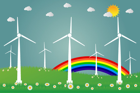 Wind turbines with sun clean energy with road eco-friendly concept ideas.vector illustration Illustration