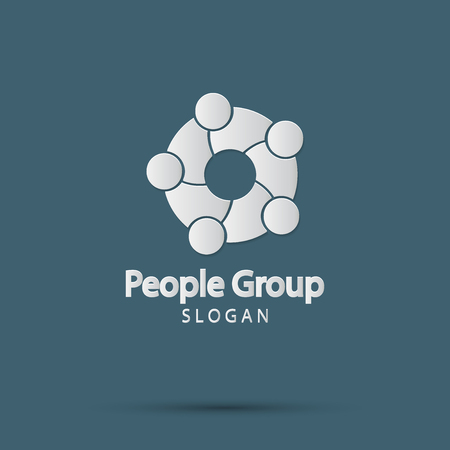 Group fire people logo handshake in a circle,Teamwork icon.vector illustrator