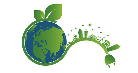 Earth symbol with green leaves around.Ecology.Green cities help the world with eco-friendly concept ideas Stok Fotoğraf - 114784537