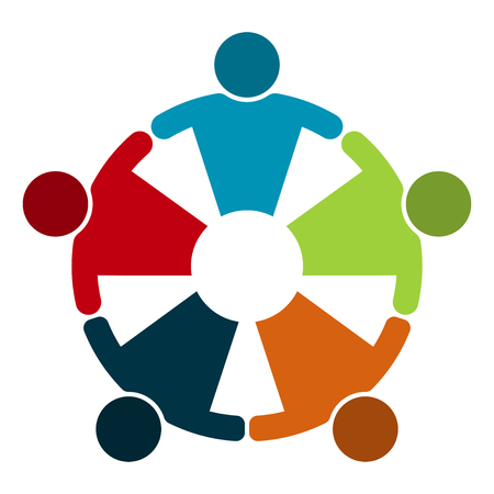 Group of five people in a circle.Teamwork meeting.people are meeting in the room.Powerful combined forces. Vetores
