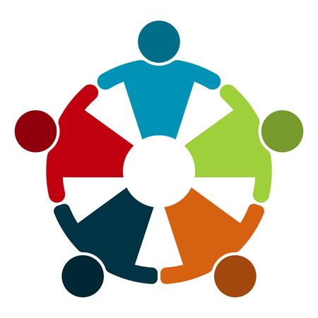 Groupe de cinq personnes dans un cercle. Réunion de travail d'équipe. Les gens se réunissent dans la salle. Forces combinées puissantes. Vecteurs