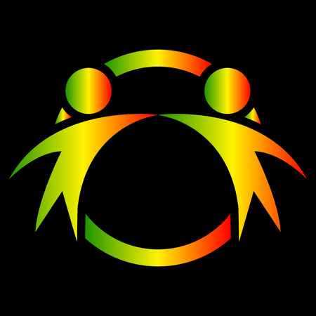 Vector graphic two happy people in a round colorful logo.icon team work