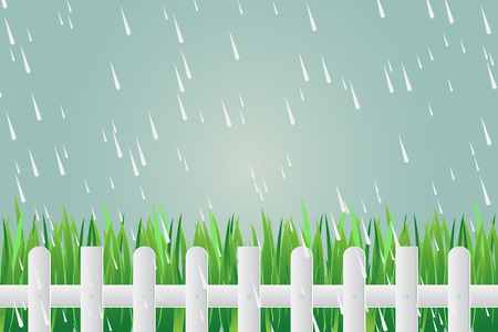 Grass fence on day torrential rain on green background.vector Illustration