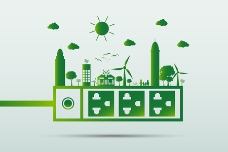 Energy ideas save the world concept Power plug green ecology Vetores