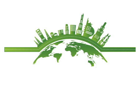 Earth symbol with green leaves around.Ecology.Green cities help the world with eco-friendly concept ideas