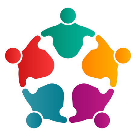 Group of five people in a circle.Teamwork meeting.people are meeting in the room.