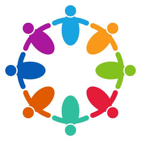 Vector graphic group connection logo.Eight people in the circle.logo team work Illustration