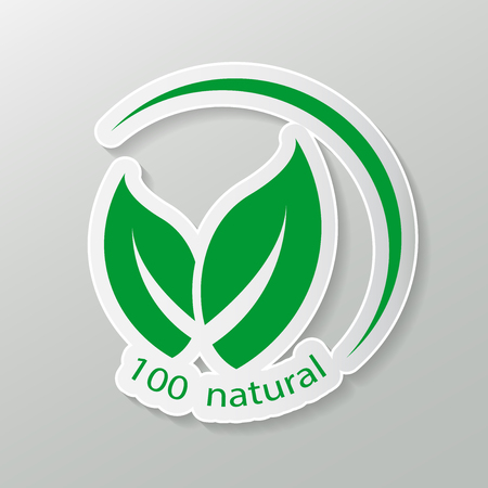 natural friendly vector design.logo natural product. stickers, labels, tags with text. Natural, eco food.