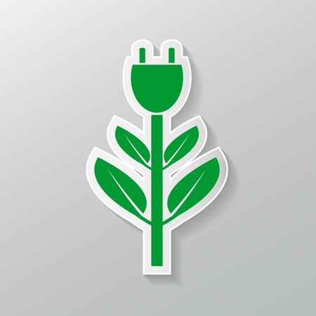Power plug green two colors ecology emblem or logo. Vector illustration