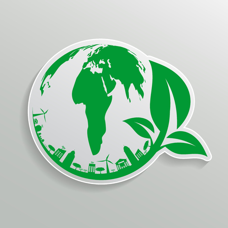 Green earth Concept with Leaves,ecology nature.Vector illustration.  イラスト・ベクター素材