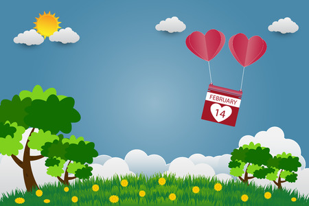 Valentine's day balloons in a heart shaped flying over grass view background, paper art style. vector illustrator