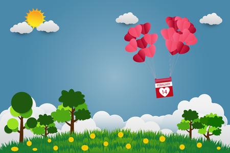 Valentines day balloons in a heart shaped flying over grass view background, paper art style. vector illustrator