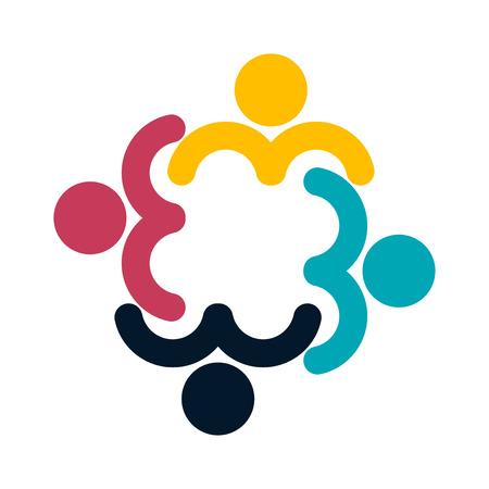 People logo. Group teamwork symbol of four persons  in a circle Ilustração