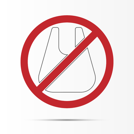 Reducing Pollution plastic uses concept,No plastic bags.Vector illustration