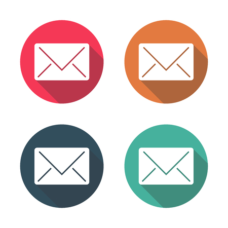 Mail icon with long shadow black on white background,Simple design style.vector illustration