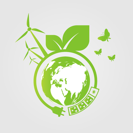Energy ideas save the world concept Power plug green ecology Banque d'images - 119013644