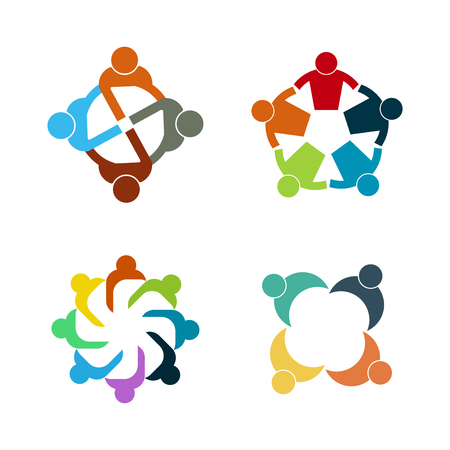 Graphic group connecting,People Connection logo set,Team work in a circle holding hands,Business person meeting in the same power room,Vector icons