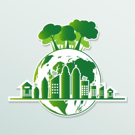 Ecology.Green cities help the world with eco-friendly concept ideas.vector illustration  Illusztráció