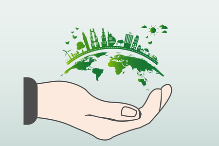 The world in your hands ecology concept.Green cities help the world with eco-friendly concept idea.with globe and tree background.vector illustration Stock Illustratie